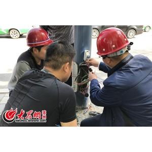 滨州市路灯处创新路灯线路,试验安装三防接线卡,解决漏电故障点